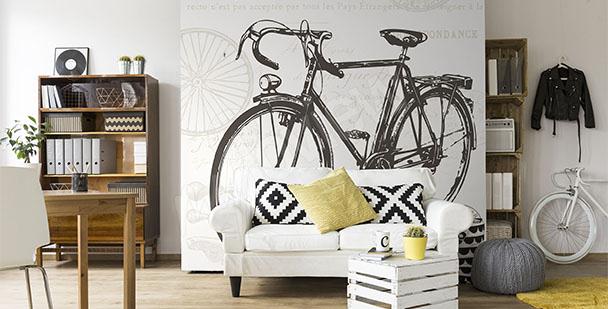 Czarno-biała fototapeta z rowerem