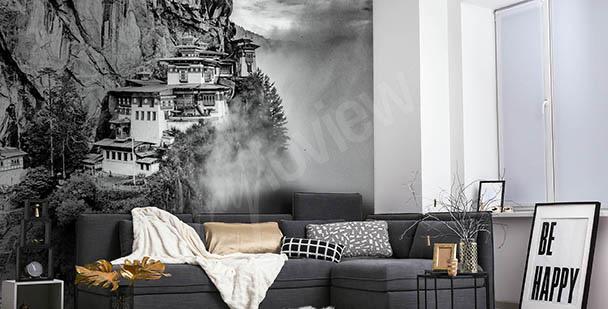 Czarno-biała fototapeta z widokiem Azji