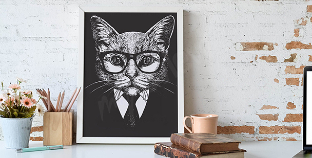 Czarno-biała ilustracja kota