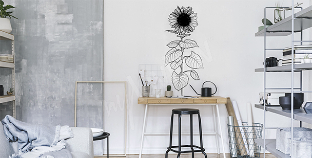 Czarno-biała naklejka ze słonecznikiem