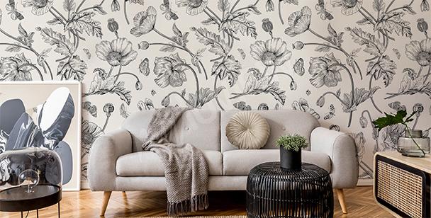 Czarno-biała roślinność retro