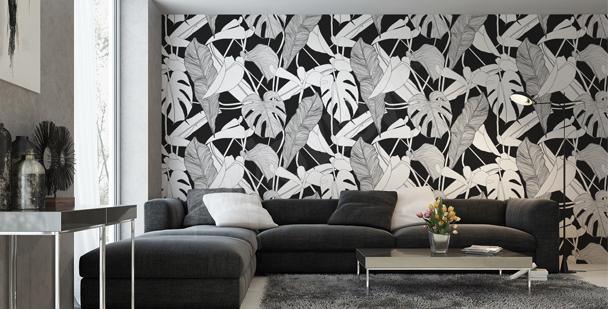 Czarno-biała tapeta ścienna
