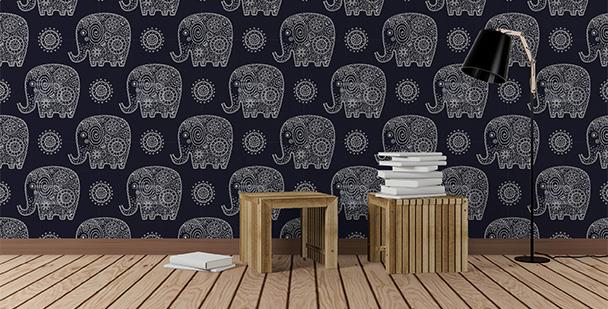 Czarno-biały motyw ze słoniami
