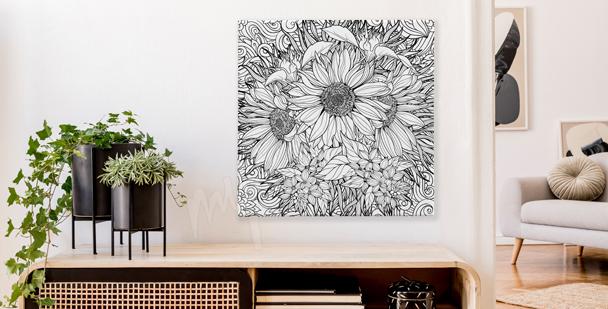 Czarno-biały obraz bukiet kwiatów