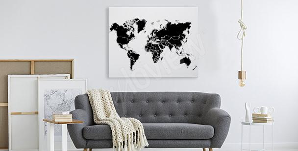 Czarno-biały obraz z mapą świata