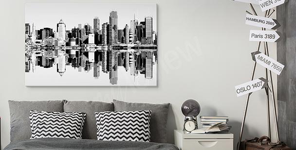 Czarno-biały obraz z miastem