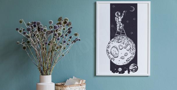 Czarno-biały plakat kosmos