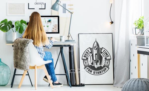 Czarno-biały plakat kosmos do biura