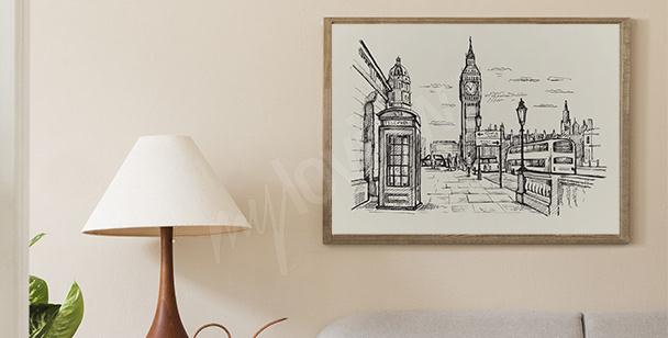Czarno-biały plakat Londyn