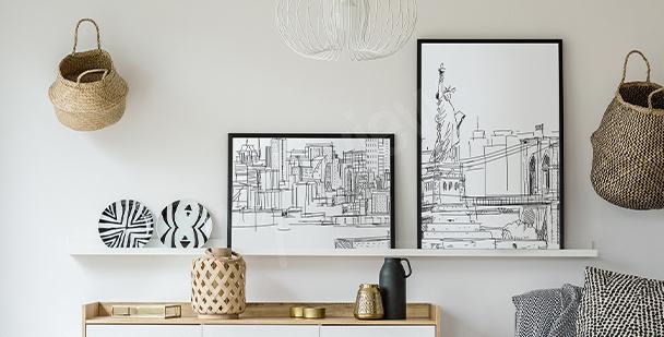 Czarno-biały plakat miasto