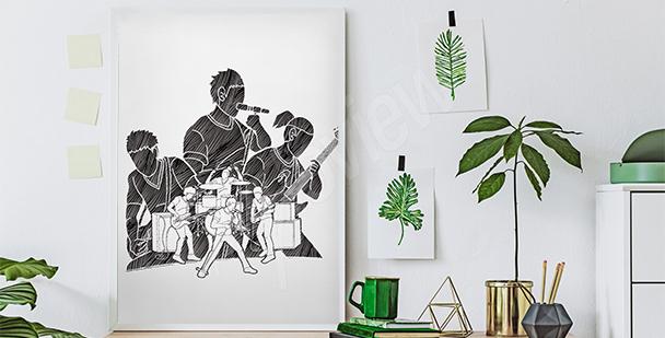 Czarno-biały plakat muzycy