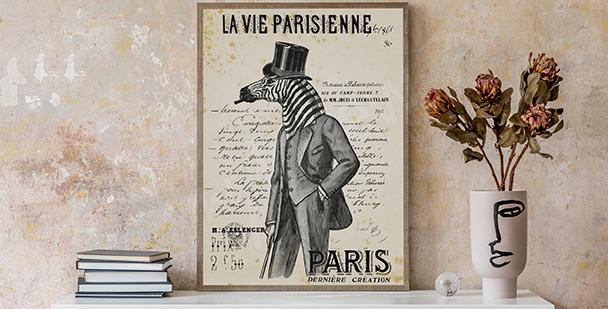 Czarno-biały plakat vintage
