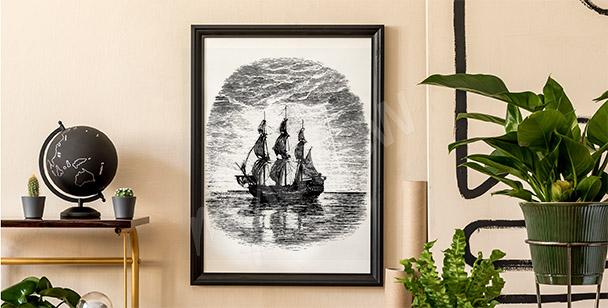 Czarno-biały plakat ze statkiem