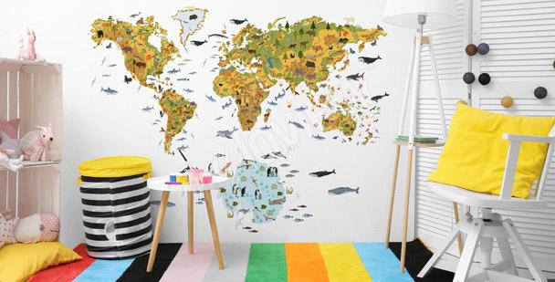 Dziecięca fototapeta z mapą świata