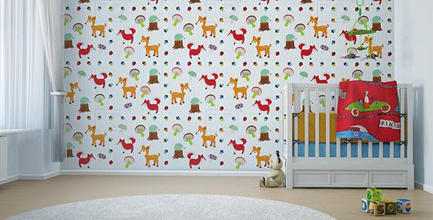 Dziecięca tapeta ze zwierzętami