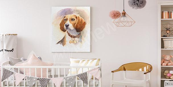 Dziecięcy obraz z psem