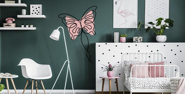Dziewczęca naklejka z motylem