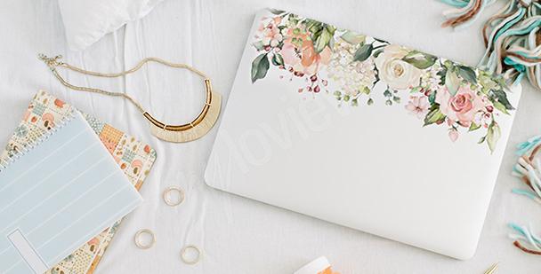 Floralna naklejka na laptopa