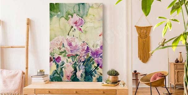 Floralny obraz z akwarelą