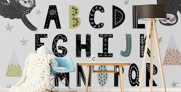 Fototapeta alfabet i leniwce