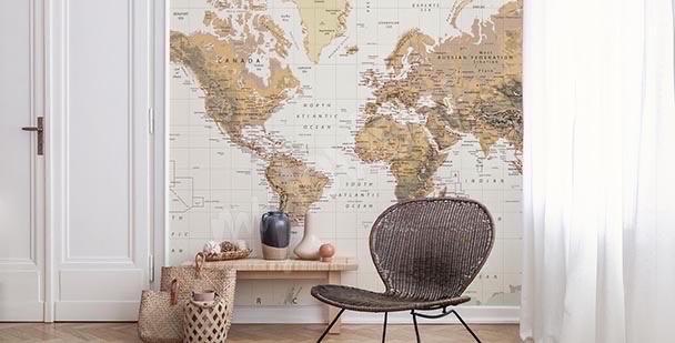 Fototapeta mapa retro: kontynenty