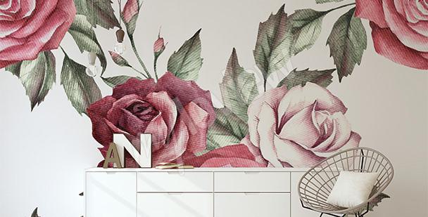 Fototapeta róże wzór do sypialni