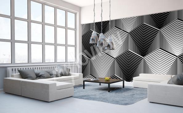 Fototapeta czarno-biała abstrakcja do salonu