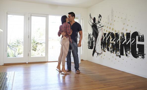 Fototapeta czarno-biała z tańczącą parą