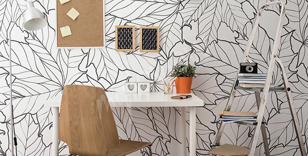 Fototapeta czarno-białe liście do biura