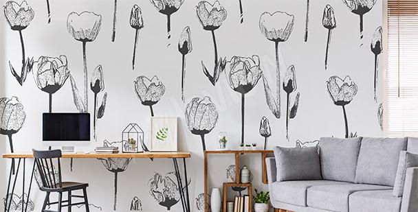 Fototapeta czarno-białe tulipany
