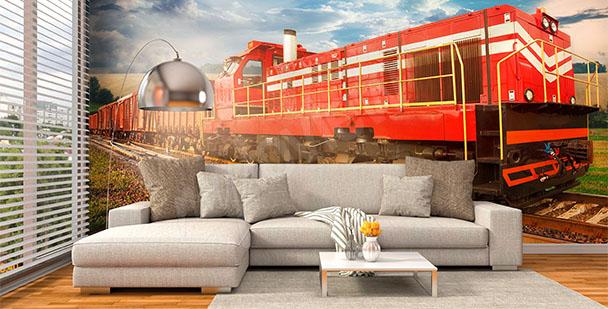 Fototapeta czerwony pociąg