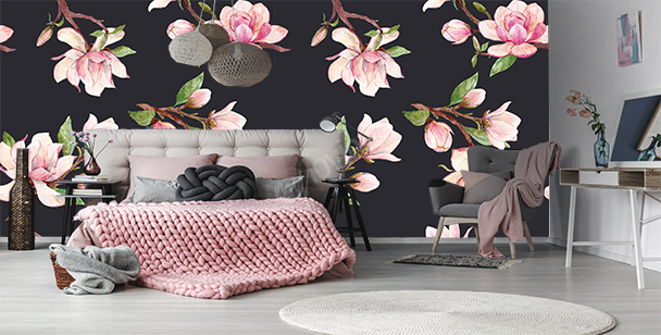 Fototapeta deseń w magnolie
