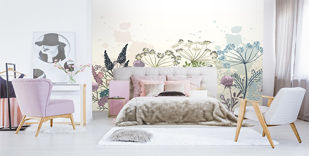 Fototapeta dmuchawce i kwiaty