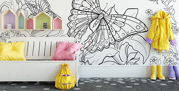 Fototapeta do kolorowania z motylem