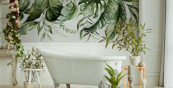 Fototapeta do łazienki liście