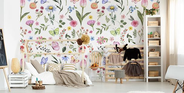 Fototapeta do pokoju dziecka z kwiatami