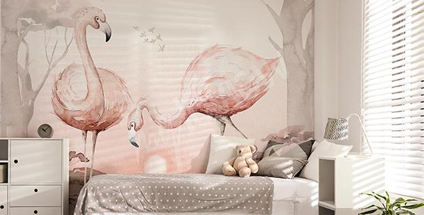 Fototapeta do pokoju dziewczynki – flamingi