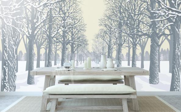 Fototapeta drzewa pod śniegiem