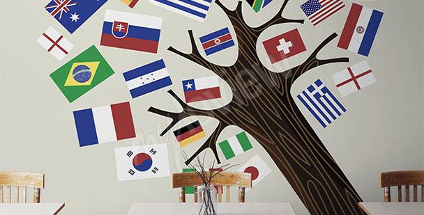 Fototapeta drzewo z flagami państw