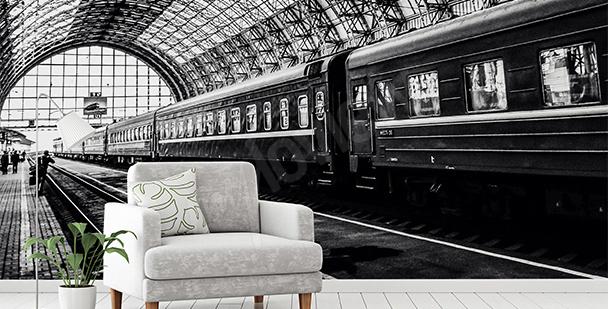 Fototapeta dworzec czarno-biały