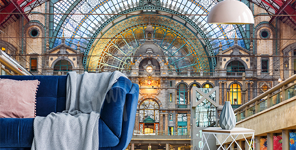Fototapeta dworzec w Belgii