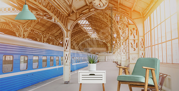 Fototapeta dworzec w sepii