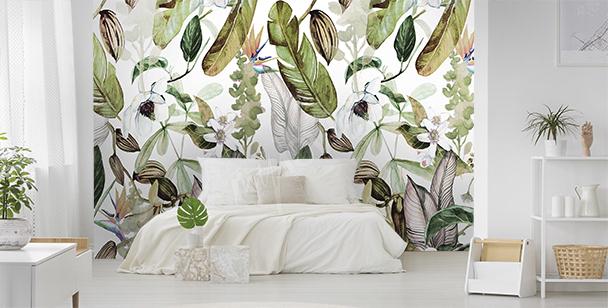 Fototapeta stary mur i liście
