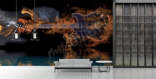Fototapeta gitara w płomieniach