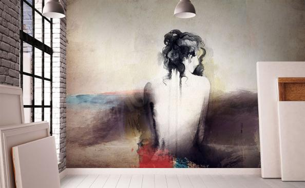 Fototapeta kobieta malowana akwarelą