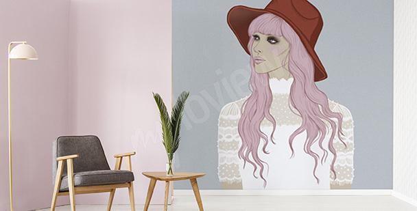 Fototapeta kobieta w różowych włosach