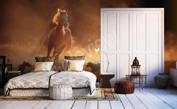 Fototapeta koń w galopie do sypialni
