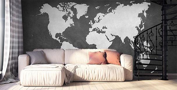 Fototapeta kontynenty czarno-biała