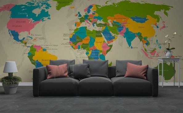 Fototapeta kontynenty na mapie świata do salonu