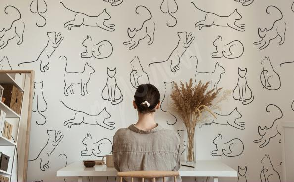 Fototapeta koty w stylu line art
